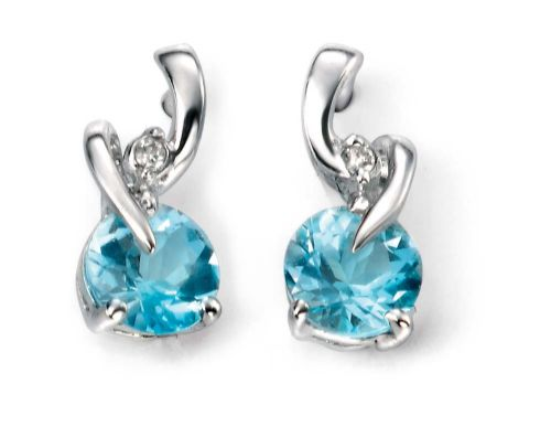 9 Carat White Gold Blue Topaz And Diamond  Earrings